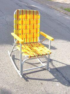 Vintage Lawn Chair Aluminum Rocking Lawn Chair Yellow Orange Webbing Patio  Glider