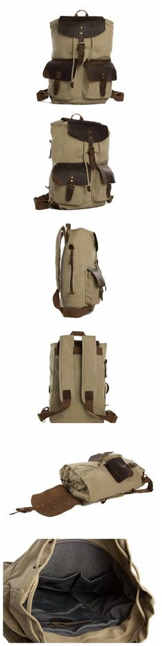 Wholesale Canvas Leather Backpack, School Backpack, Waxed Canvas Backpack