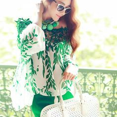 Chiffon Green Leaf Printed Blouse