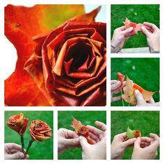 idées de bricolage d'automne : roses avec feuilles mortes