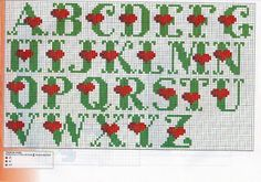 Heart alphabet cross stitch - complete alphabet is here