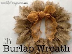 Here is a really 3 supply burlap wreath! So easy. And any color bow. Just love the rustic style.
