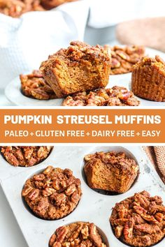 Paleo Pumpkin Streusel Muffins - The Bettered Blondie Step into the fall season with these paleo pumpkin streusel muffins. With a tender muffin, crunchy topping and perfect spice, these are a hit Paleo Dessert, Paleo Sweets, Paleo Food, Healthy Desserts, Protein Desserts, Paleo Bread, Healthy Recipes, Gluten Free Baking, Healthy Baking