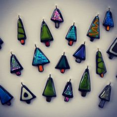 Fused Glass Christmas Tree Pendants