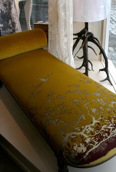 Chaise Longue upholstered in Birdbranch honey custom velvet, by Timorous Beasties. Chaise longues are so impractical and lovely. They delight me. Timorous Beasties, Feature Wallpaper, Contemporary Fabric, Chinoiserie Chic, Home Furniture, Upholstered Furniture, Furniture Design, Fabric Sofa, Textiles