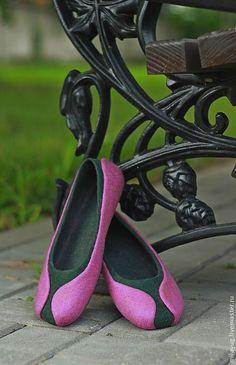 """Купить """"Фаленопсис"""" валяные тапочки-балетки. - розовый, зеленый, цветок, орхидея, фаленопсис, нежный"""