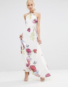 Hope and Ivy | Hope And Ivy Halterneck Maxi Dress In Floral Placement Print at ASOS