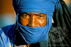Stock Photo #1890-17792, Man wearing blue headscarf, Djemma el Fna, Marrakech Marrakesh, Morocco, North Africa, Africa