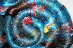 Batt Merino Bamboo Pulled Sari Silk Angelina 22 oz by expertlydyed, $22.45