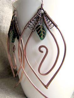 copper-double-leaf-bead-earrings