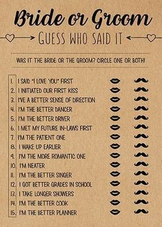 Wedding Guess Who Said It, Bridal Shower Games Printable, Bridal Shower Game Idea, Bridal Shower Ins He Said She Said, Printable Bridal Shower Games, Baby Shower Games, Couples Wedding Shower Games, Country Wedding Games, Couple Shower Games, Wedding Favors, Wedding Ceremony, Wedding Decorations