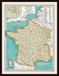 Antique Map - FRANCE & Netherlands / Belgium - 1935 Map Page - Buy 3 Maps, Get 1 FREE