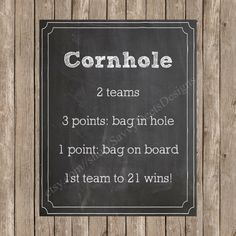 Cornhole Custom Wedding Lawn Games Chalkboard Sign
