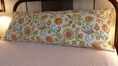 Body pillow/bolster cover in Waverly home design fabric in yellow, blue, rose, green contemporary floral.. $28.00, via Etsy.
