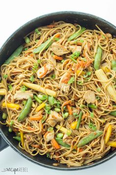 An easy, one pot version of Chicken Chow Mein -- you'll never have to settle for takeout again!