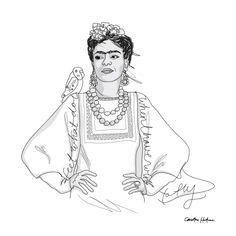 Frida Kahlo - Illustration Svart/vit