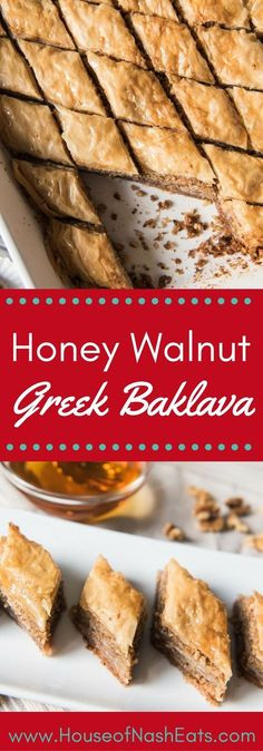 Honey Walnut Greek Baklava ~ walnuts and cinnamon layered between flaky phyllo dough brushed with melted butter then baked and drizzled with a sugar and honey syrup to create a crispy, sweet, and impressive dessert! Greek Desserts, Best Dessert Recipes, Delicious Desserts, Greek Recipes, Phyllo Recipes, Baking Recipes, Easy Recipes, Baclava Recipe, Pie Cake