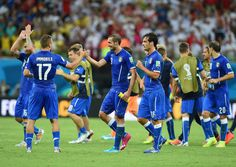 Italy players celebrate after defeating England 2-1 in the 2014 FIFA World Cup Brazil Group D match between England and Italy at Arena Amazonia on June 14, 2014 in Manaus, Brazil.