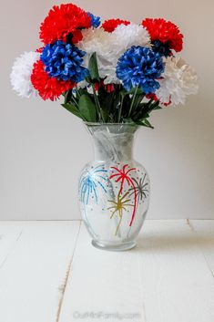 DIY Fourth of July Painted Flower Vases