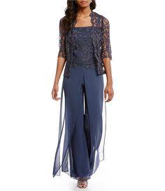 8fc91d4fab547 Emma Street Lace Chiffon Pant Set Wedding Trouser Suits