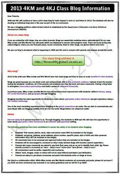 """Kathleen Morris's latest post on """"  A Guide to Involving Parents in Your Class Blog"""".  Great post on involving parents and includes the handouts she sends home to help them."""