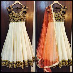Our New French Knot Flower Yoke Anarkali with Chanderi Zari Checks and Pearl Embroidered net Dupatta!  #mrunaliniraodesign #mrunalinirao #ethnic #indian #hyderabad #black #peach #offwhite #chanderi #designerwear #weddings #brides