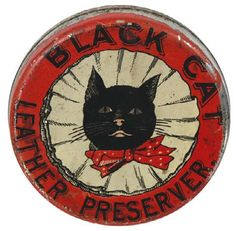 Black Cat Shoe Polish Tin can Vintage Tins, Vintage Labels, Vintage Antiques, Black Cat Art, Black Cats, White Kittens, Tin Containers, Vintage Packaging, Tin Toys