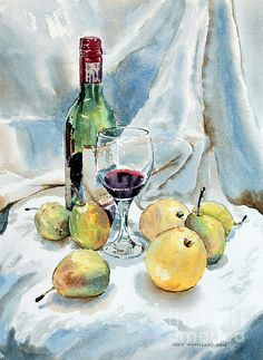 Title  Pears And Wine   Artist  Joey Agbayani   Medium  Painting - Watercolor On Paper