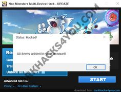 "HOW TO USE NEO MONSTERS MULTI-DEVICE HACK  1.Download app  2. Unpack applications  3. Connect your device to your computer (eg. Using a USB cable)  4. Select your platform on this tool  5. Enter the number of Gems, Training Points that you want to get  6. If you want to unlock all monsters select options ""Unlock all monsters""  7. Click ""START"" button  8. That's all!"