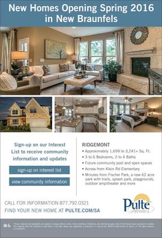 New Homes for Sale in New Braunfels, Texas  New Community Coming Soon to New Braunfels  Minutes from Fischer Park | Future community Pool & Open Spaces  http://www.pulte.com/communities/TX/new-braunfels/Ridgemont/209590/index1.aspx#.Vk-pBTjwuM9