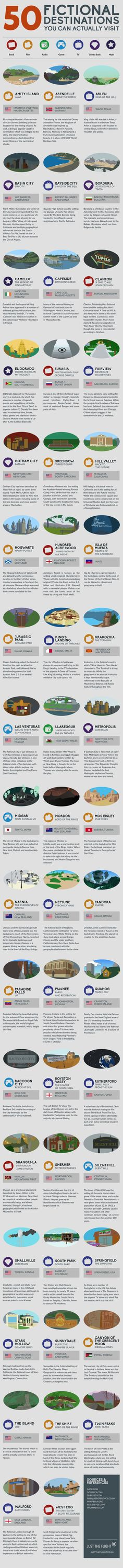 50 Fictional Destinations You Can Actually Visit #infographic #Travel #FictionalDestinations  @mainhannah @sarahline  I think we need to hit up the Neptune and Stars Hollow locations.  Roomie reunion?