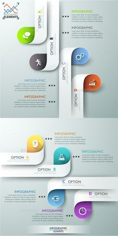 Modern infographics options banner for 4 options made of colorful paper ribbons . - Modern infographics options banner for 4 options made of colorful paper ribbons in two color versio - Infographic Template Powerpoint, Powerpoint Design Templates, Timeline Infographic, Paper Presentation, Presentation Design, Graphic Design Brochure, Web Design, Paper Ribbon, Graphic Wallpaper