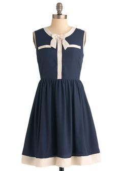 Bows Will Be Bows Dress - Mid-length, Blue, Tan / Cream, Solid, Bows, Buttons, Pockets, A-line, Work, Sleeveless