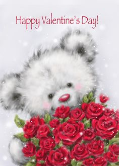 Valentine's Day, Cute Bear with a Bunch of Red Roses card. Cards are shipped the Next Business Day. Valentines Day Wishes, Valentine Day Love, Tatty Teddy, Valentine Heart Images, Hugs And Kisses Quotes, Bunch Of Red Roses, Mickey Mouse, I Love You Pictures, Holiday Pictures
