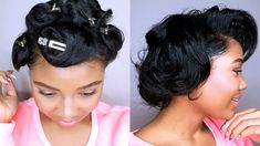 How To Style SHORT Relaxed Hair | PIN CURLS TUTORIAL | Heatless Curls.