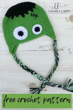 This crochet Frankenstein hat is the perfect blend of spooky, fun & cute! The free Halloween hat crochet pattern is writtten for sizes months- adult. Fall Crochet Hats, Crochet Baby Halloween, Halloween Crochet Patterns, Crocheted Hats, Crochet Hats For Kids, Owl Crochet Patterns, Crochet Beanie Pattern, Fall Patterns, Crochet Ideas