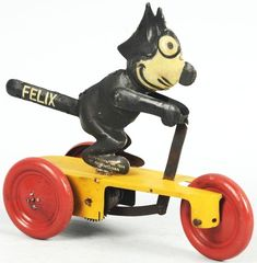 "Tin Litho Felix the Cat Scooter Wind-Up Toy. German. Marked ""Copyright 1924 Pat Sullivan"" and ""SG"" (Sam Gunthermann) on foot"
