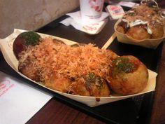 Takoyaki - be careful when you stick one in your mouth... sometimes they're like molten lava inside!