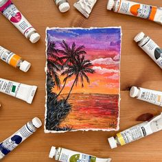 """Ashwini 🇦🇹 🇺🇸 🇮🇳 on Instagram: """"'SEASIDE SUNSET', Gouache on Khadi paper, 10x15 cm (A6 size). Im so excited! I finally get to announce the project I have been working on…"""" Watercolor Landscape, Landscape Paintings, Landscapes, A6 Size, Paintings For Sale, Gouache, Seaside, Presents, Sunset"""