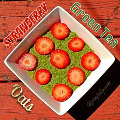STRAWBERRY MATCHA GREEN TEA OATS  1/3 cup oats  2/3 cup water  1 tbsp chia seeds  1 tsp vanilla extract  Mix and microwave for 1:00 Add 1/2 cup  cage free liquid egg whites  987 Saigon Cinnamon specks  Sweetener of choice 1/4 cup milk of choice Optional - 2 tsp organic unrefined coconut oil  Whisk  Microwave for another 1:00 whisking at 30sec intervals   Add additional milk of choice until desired consistency  Add 1 tsp Matcha and whisk Add 1/2 cup strwbrys