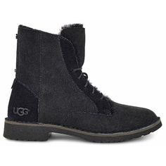 UGG Quincy (165 CHF) ❤ liked on Polyvore featuring shoes, boots, ankle booties, ugg, lightweight combat boots, ugg boots, light weight combat boots and light weight boots