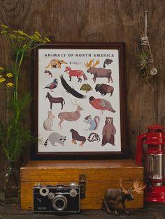 North American Animals Print by smalladventure on Etsy, $24.00