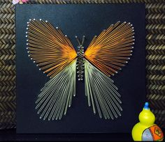 Butterfly String Art Sign, Nails and Strings Art Butterfly String Art, Handmade Butterfly String Art Wall Decoration. This rustic String Art will make a great addition to your home or lake house, child's room, or wherever you can imagine. 4 sizes available.