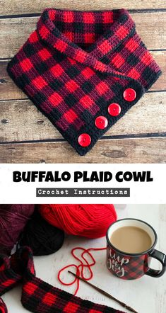 Crochet Buffalo Plaid Cowl