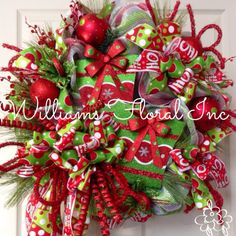 Christmas Mesh Wreath, Whimsical, Wreath, Red, Green  by WilliamsFloral on Etsy