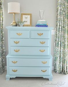 Tips for best paint for furniture painting, cleaning brass hardware, and furniture waxes from Centsational Girl.
