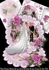 Pink Roses Bride and Groom Scalloped Round Easel Card