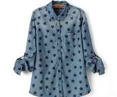 Stars Roll Up Sleeve Blue Shirt