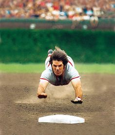 Pete Rose - Reds vs. Cubs, August 1975 Cincinnati's Pete Rose dives into third base in a game with the Cubs at Wrigley Field. Baseball's all-time hits leader, Rose was 4-for-9 and drew eight walks during the series with Chicago.
