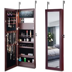 Costway Lockable Wall Door Mounted Mirror Jewelry Cabinet Armoire Organizer w/LED Lights, Brown Mirror Jewellery Cabinet, Jewelry Mirror, Jewelry Armoire, Jewelry Stand, Jewelry Storage, Jewelry Holder, Stone Jewelry, Antique Jewelry, Teen Room Decor